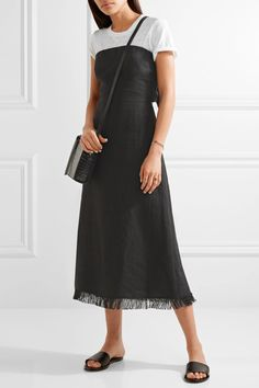 Theory - Phyly Strapless Fringed Linen Midi Dress - Black - US12