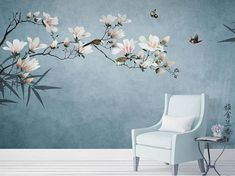 Dark Color Hunter/Blue/Grey Backgroud Wallpaper Wall Murals, Birds&Flowers Tree Wall Mural, Wall Decor for Bedroom Living Room Tree Leaf Wallpaper, Wallpaper Wall, Custom Wallpaper, Flower Wallpaper, Painting Wallpaper, Ink Painting, Photo Wallpaper, Mural Floral, Cleaning Walls