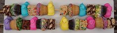 Easter Peep Kabobs. Is this not adorable? Kids would go crazy over these!