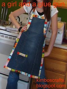 Levi Apron - A girl and a glue gun. I made this using dark blue denim & patriotic fabric. It turned out so cute! I will never throw away old jeans again!