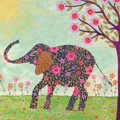 Sunny Elephant Art Elephant Painting Indian Elephant by Sascalia