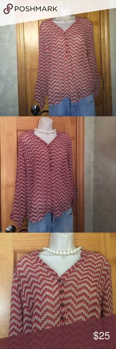 Beautiful Ana Boho Coral Chevron Blouse❤️🎀 Size large, but will fit small med boho style❤️NWOT ❤️ Tops Blouses