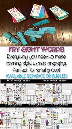 Fry Sight Words! Word rings, assessments and games to make learning the Fry sight words fun!