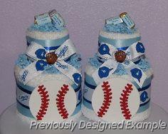 LA-Dogers-Towel-Cakes.JPG - LA Dodgers Baby Shower Centerpieces