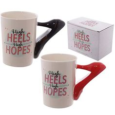 Fun High Heels Shaped Handle Ceramic Mug Our shaped handle mugs are novel and come in a great range of themes and designs. Made from ceramics they will definitely be a talking point at the dinner table or in the office canteen. Silver High Heels, High Heels Stilettos, Coffee Mugs Online, Xmas Stockings, High Hopes, Mug Cup, Womens High Heels, Safe Food, Mugs