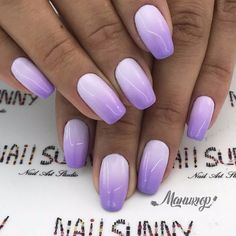 Ombre nails are everywhere these days. Ombre nails are eye-catching and personalized, and can be subtle as you want. I like a soft pastel ombre fade that is suitable for everyday use or glitter ombre nails for special occasions such as weddings. Purple Nail Designs, Best Nail Art Designs, Gel Nail Designs, Lilac Nails Design, Purple Ombre Nails, Nails Yellow, Purple Wedding Nails, How To Ombre Nails, Gel Ombre Nails