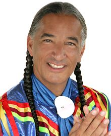 """Kevin Locke; graduate of USD; best known for his hoop dance, The Hoop of Life; wrote """"Lakota Hoop Dancer"""" and """"Real Dakota! About Dakota by Dakotans!""""; music recordings include """"Dream Katcher' and """"The Flood and Other Lakota Stories"""""""