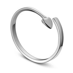 Trendy 925 Sterling Silver Cuff Ring, with Heart, Platinum; Size:about 18mm inner diameter(Adjustable); Heart:about 3mm wide.<br/>Priced per 1