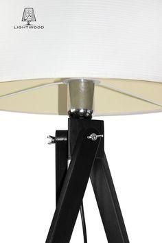 Lampa sztalugowa stojąca LIGHTWOOD czarna biały abażur LW14