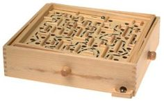 WOODEN LABRYNITH PUZZLE: This is the classic game loved by all kids and adults about eight-years-old and up. Have kids test their skills and their patience as they turn the knobs to maneuver the steel ball through the maze. Includes wooden game board and two steel balls.
