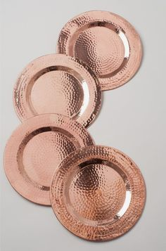 Sertodo Copper Round Hammered Copper Charger Plates, Set of 4 Copper Rose, Pure Copper, Hammered Copper, Rose Gold Kitchen, Copper Kitchen, Copper Dining Room, Kitchen Dining, Copper Dishes, Home Decor