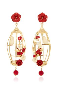 These handmade earrings feature a romantic birdcage design of natural and composite coral, chalcedony, agate, horn and pearl fashioned in 18K yellow gold vermeil.