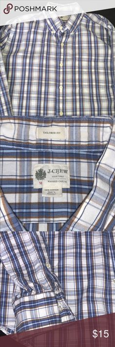 J.Crew plaid button down shirt J.Crew plaid button down shirt. Size Medium. Blue and brown in color.  Great condition. Bin17 J.Crew Factory Shirts Casual Button Down Shirts