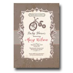 Vintage themed baby shower invitations google search carter cash vintage bicycle baby shower invitation baby boy by miprincess filmwisefo