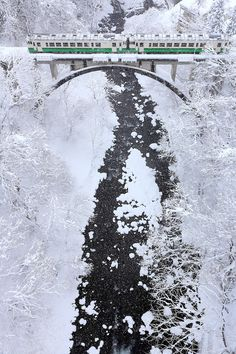 Winter Railway, Tadami Line in Mishima town, Fukushima, Japan, by Koji Yamauchi.