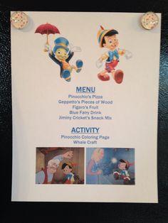 Pinocchio Menu - Pinocchio Movie Night - Disney Movie Night - Family Movie Night