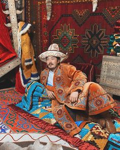 Folk Costume, Costumes, Handsome Asian Men, Kazakhstan, Folklore, Ethnic, Traditional, Painting, Dress Up Clothes