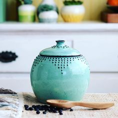« Aqua Mist Jar - #backbaypottery #ceramics #pottery #ceramic #homedecor #homemade #homesweethome #handmadeisbetter #art #artist #kitchen #kitchenware… »
