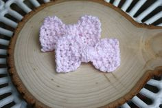 Pink Knit Pigtail Bows on Alligator Clips by IvyandOrchid on Etsy