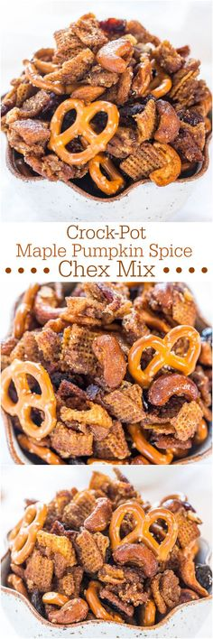 Crock-Pot Maple Pumpkin Spice Chex Mix - Loaded with Fall flavors and made in a Crock-Pot! Super easy and totally irresistible!!!