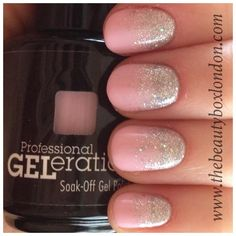 Jessica GELeration Bellini Baby with Wedding Band glitter accent. Created by The Beauty Box.