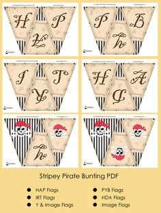 Pirate Party Ideas Stripey Pirate Bunting