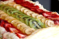 Tarta de Kiwi, plátano y fresas Ingredientes: Base: 500gr de hojaldre (puedes usar el que viene hecho) Crema relleno: 250gr de leche entera 250gr de leche condensada (puedes poner todo leche si te apetece) 35gr de maizena 4 yemas de huevo 50gr de azúcar 1 cucharada de azúcar vainillado 30 gr de mantequilla Glaseado: 100gr …