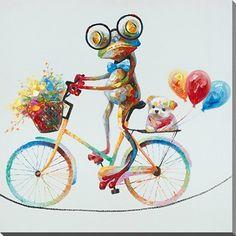 Peinture à l'huile avec image d'une grenouille