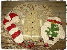 **~Primitive Gingerbread, Candy Cane and Mitten Ornis~** $15
