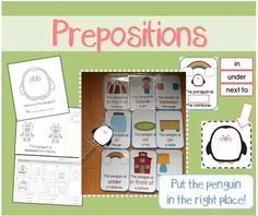Content:  1 Poster with the definition of Preposition  30 Flashcards w/ picture + relevant preposition & sentence (includes flashcards for on, in, above, under, next to, beside, in front of, behind, between, among)  30 Fill-in-the-Preposition cards  + Cut-out Cards to paste the right preposition on the card  Penguins  (Cut along the dotted line or cut along the penguin's own outline) *I prefer cutting along the penguin's own outline because when children put the penguin in its right ...