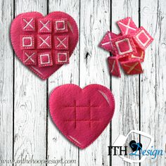 Free heart tic tac toe board embroidery design for 4x4 hoops! Good for Valentine's Day! :)