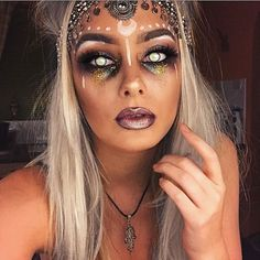Fortune teller Halloween makeup. Are you looking for easy pretty Halloween makeup ideas for women to look the best at the Halloween party? See our photo collage to pick the one that fits the Halloween costume.