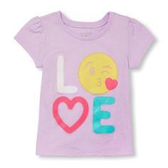 Toddler Girls Short Sleeve Graffiti 'LOVE' Emoji Glitter Graphic Tee