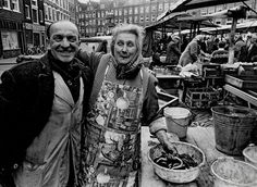 Behind the fish stall at the Lindengracht market in the Jordaan section of Amsterdam. In the bankground the back-side of the houses on the Marnixstraat. Amsterdam City, Picture Credit, Great Memories, Women In History, Old Pictures, Netherlands, Dutch, The Past, Photography