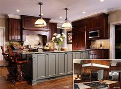dark with painted island My parents would probably love this, but not the chairs at the kitchen island. Also, they'd probably prefer a cream colored vs. Painted Kitchen Island, Green Kitchen Island, Dark Wood Kitchen Cabinets, Dark Wood Kitchens, Painting Kitchen Cabinets, Kitchen Redo, New Kitchen, Kitchen Design, Painted Island