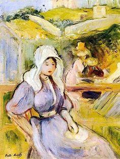 "artist-morisot: ""On the Beach at Portrieux, Berthe Morisot Medium: oil on canvas"" Pierre Auguste Renoir, Edouard Manet, Camille Pissarro, Claude Monet, Mary Cassatt, French Impressionist Painters, Paul Cézanne, Berthe Morisot, Edgar Degas"