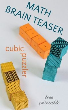 Math cube riddle puzzler for kids. Good for spatial learning.