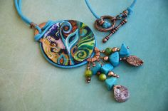 HandPainted Pendant with Tree and Mother by WaterstriderDesign, $60.00