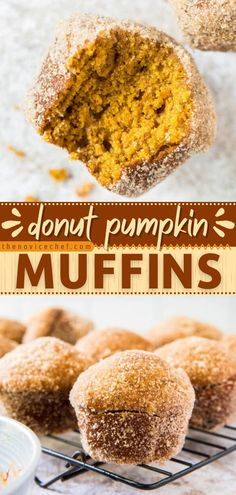 Enjoy two favorites in one easy pumpkin recipe! Brushed in butter then tossed in cinnamon sugar, these moist donut muffins with lots of real pumpkin flavor are EPIC. Save this pin and happy fall baking! Pumpkin Baking Recipes, Sweet Pumpkin Recipes, Fall Recipes, Lunch Recipes, Dessert Recipes, Simple Muffin Recipe, Sour Cream Coffee Cake, Homemade Muffins, Sugar Pumpkin