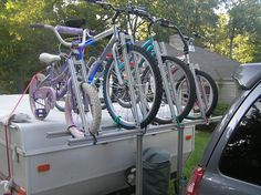 It's finally time to get ready for outdoor activities! Look at this durable bike-rack that mounts directly to the trailer. Pivots were used to enable the bikes to be loaded up or taken down with a simple loosening of a bolt. Bring on the Spring weather!