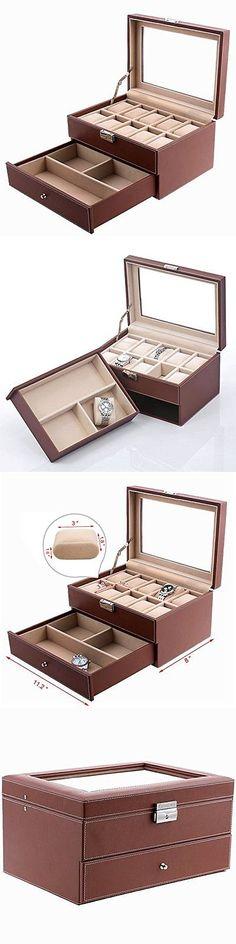 Watch 168164 Woodandleather 10 12 20 Slots Watch Box Display Glass
