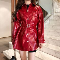 Lifestyle Trends, Leather Jacket, Pu Leather, Windbreaker, Clothes For Women, Waist Belts, Long Sleeve, Sleeves, Yui