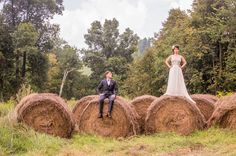 upstate New York wedding on hay bales shot by A Guy + A Girl Photography