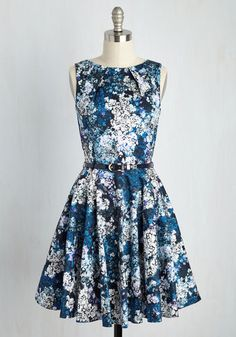 Luck Be a Lady Dress in Blue Garden by Closet London - Floral, Print, Daytime Party, Fit & Flare, Sleeveless, Spring, Woven, Better, Cotton, Variation, Wedding Guest, Mid-length, Work, Vintage Inspired, Blue, White