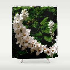 White Blooms Shower Curtain by Moonshine Paradise #white #blooms #flowers #bathroomdecor #showercurtain