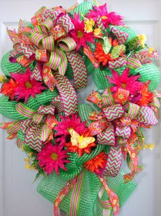 Spring /Summer Mesh Wreath by WilliamsFloral on Etsy, $80.00