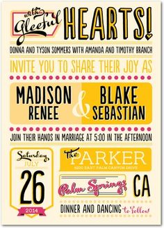 Colorful modern typographic save the date