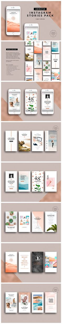 ANIMATED Instagram Copper Stories by Paperwhite Studio on creativemarket, Graphic Design Resources, Products, Social media, templates