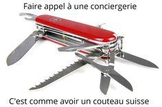 La Conciergerie, fournisseur de solutions à #vannes et autour du #golfedumorbihan en #bretagnesud 0637493831 www.bonao.fr Swiss Army Knife, Outdoor Knife, Swiss Army Pocket Knife