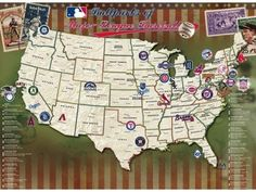 Map Your Travels: MLB Stadiums Laminated Poster - 55000- Dad B-day